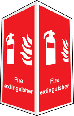 Two-sided fire extinguisher sign