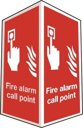 Two-sided fire alarm call point sign