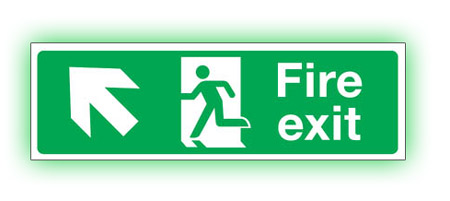 photoluminescent up left fire exit sign