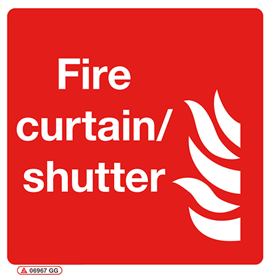Fire curtain shutter sign