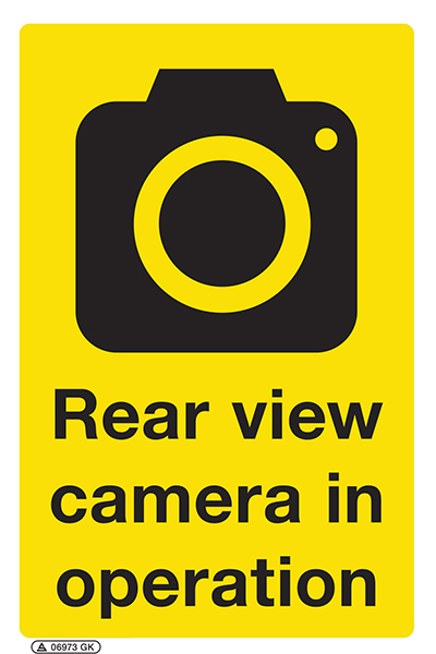 Rear view camera in operation sign