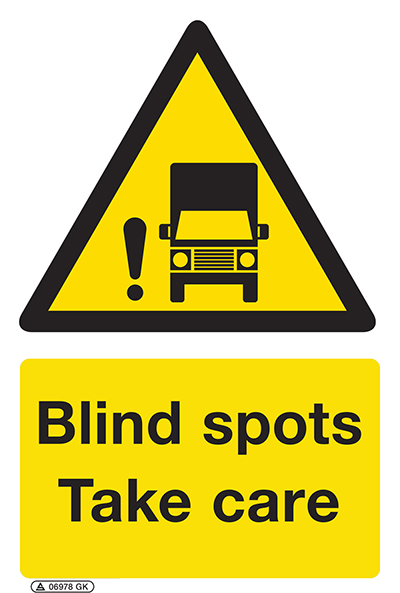 Blind spots take care sign