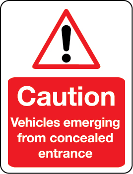 Caution: vehicles emerging from concealed entrance sign