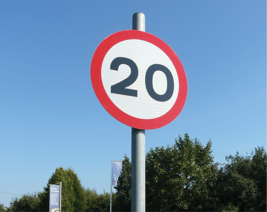 20mph speed sign for road traffic signage