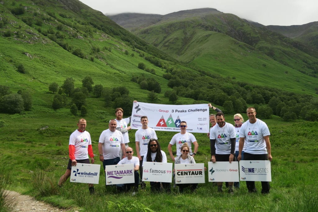 Stocksigns Charity 3 Peaks Challenge Finish Banner