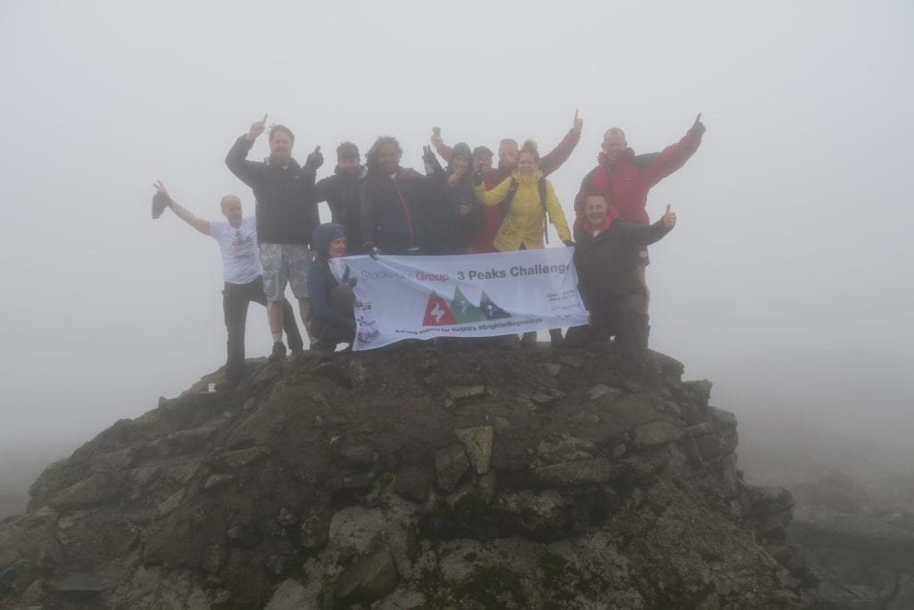 Stocksigns Charity 3 Peaks Challenge Finish Banner Foggy