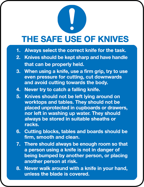 The safe use of knives regulations sign