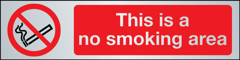 This is a no smoking area sign in brushed stainless steel
