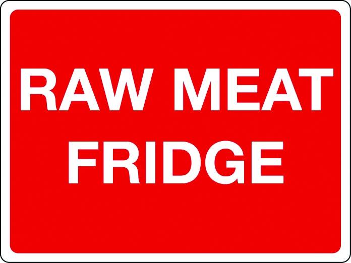 Raw meat fridge sign