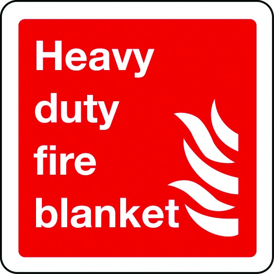 Heavy duty fire blanket sign