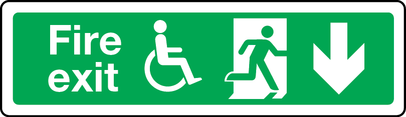 Physically impaired fire escape route arrow down sign