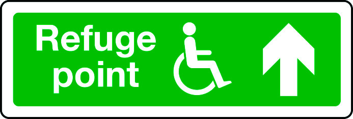 Disabled refuge point route arrow up sign