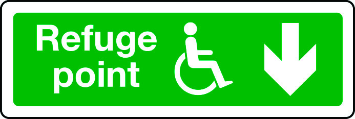 Disabled refuge point route arrow down sign