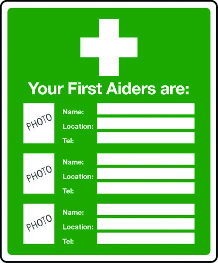 picture relating to Printable First Aid Sign named Your 1st aiders are (picture words include elements) indication