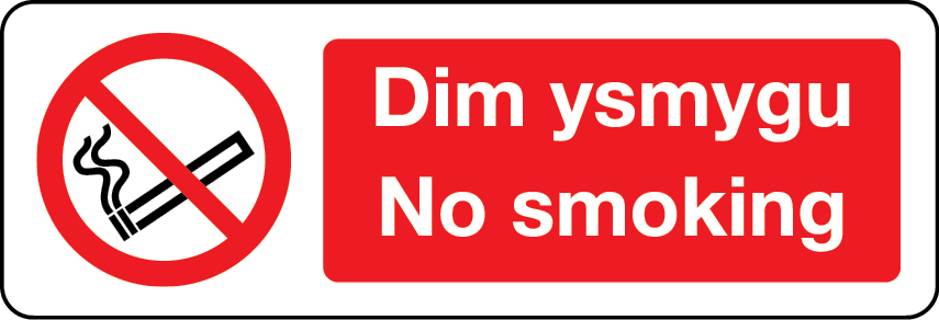 No smoking Welsh/English sign