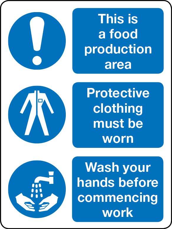 Food production, wash hands and PPE combination sign