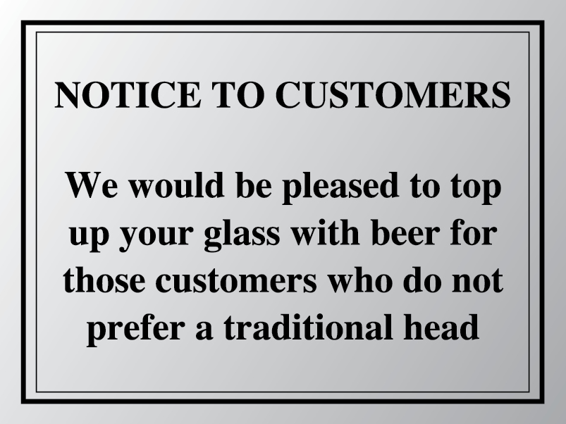 Top up your pint sign