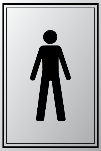 Male symbol toilet sign