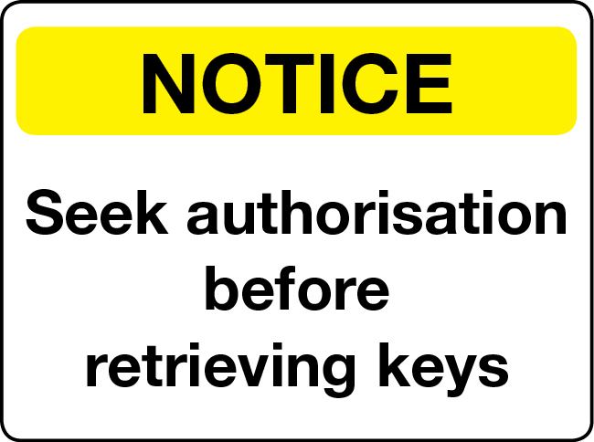 Seek authorisation before retrieving keys notice