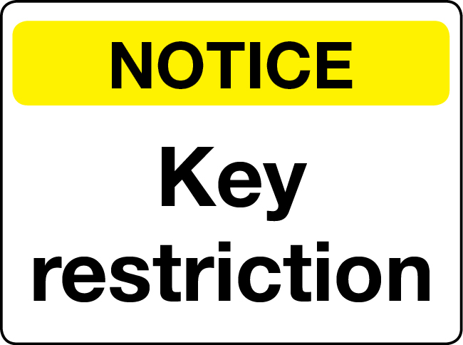 Key restriction notice