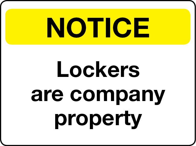 Lockers are company property notice
