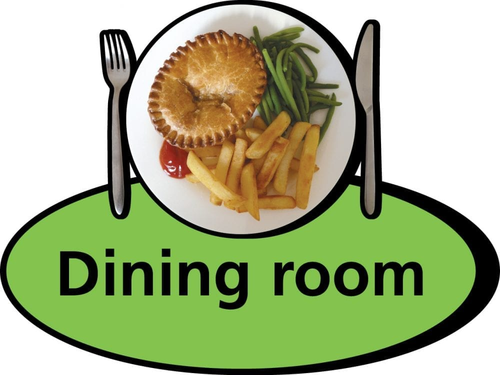 3D pictorial dining room sign