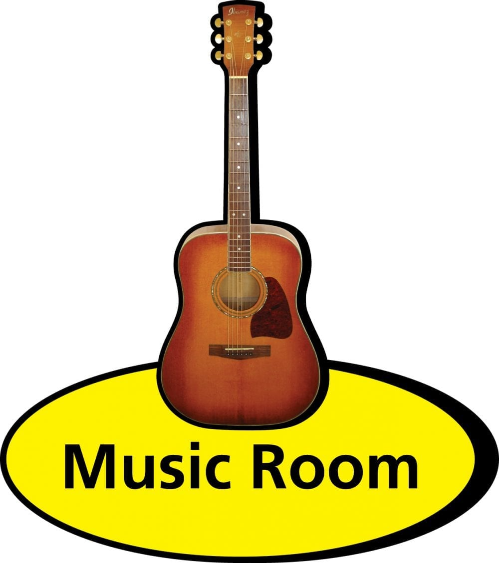 3D pictorial music room sign