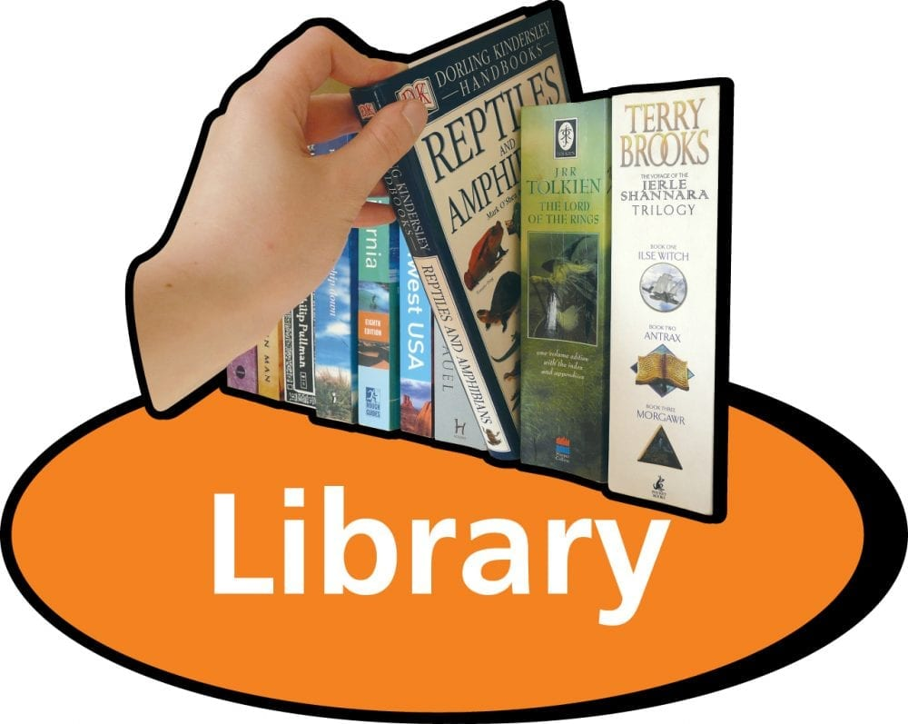 3D pictorial library sign
