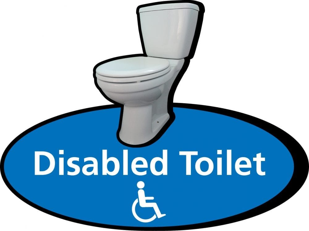 3D pictorial disabled toilet sign