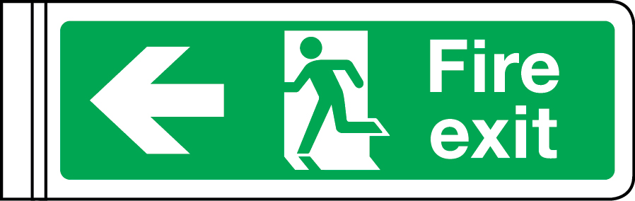 Wall-mounted double-sided fire exit sign (arrow left)