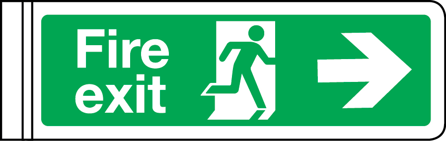 Wall-mounted double-sided fire exit sign (arrow right)