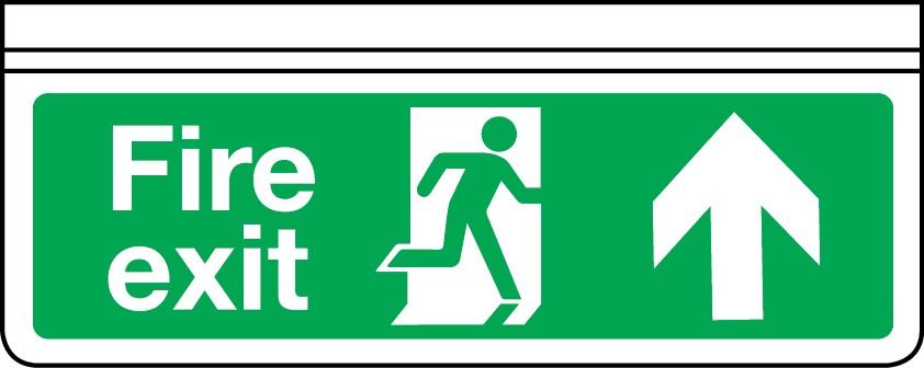 Ceiling-mounted single-sided fire exit sign (arrow up)