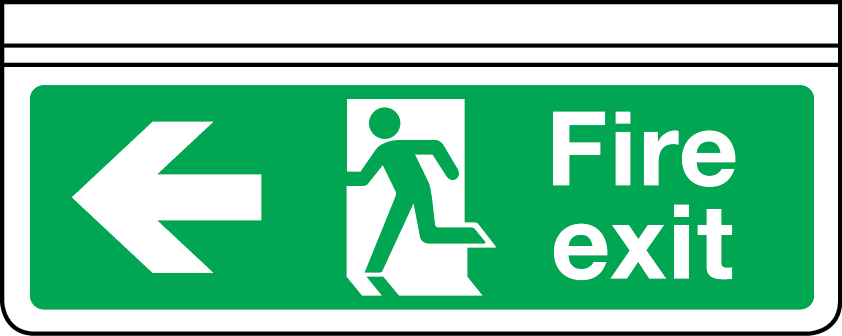 Ceiling mounted double-sided fire exit sign arrow left