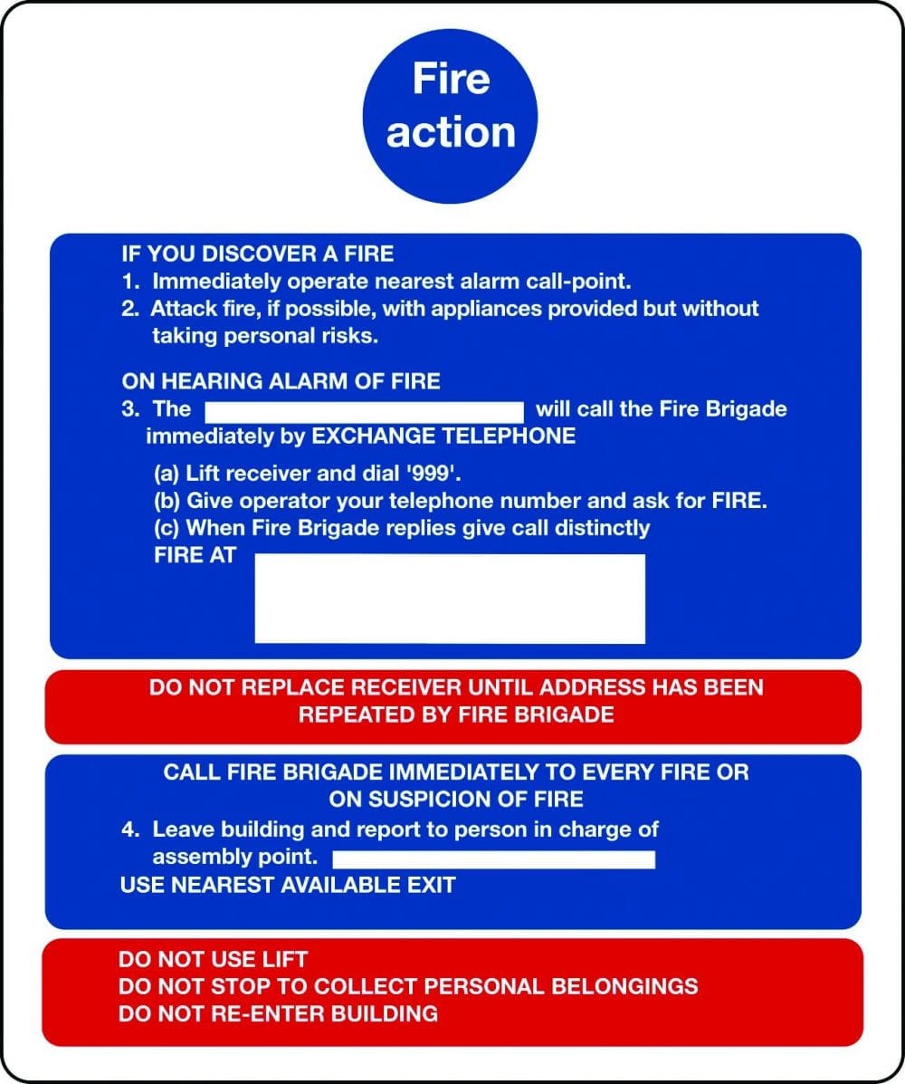 Fire action notices for buildings with lifts sign