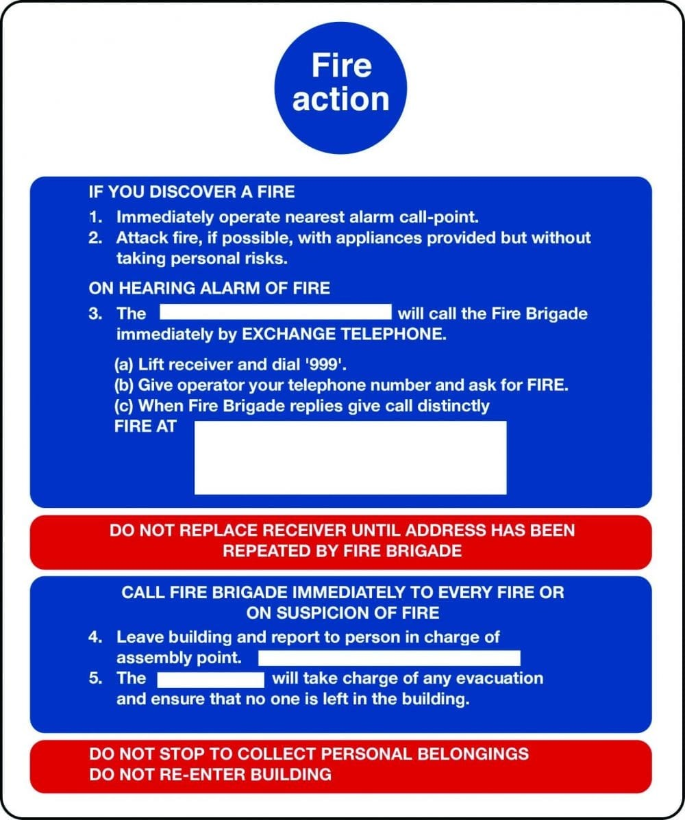 Fire action notice for buildings without lifts sign