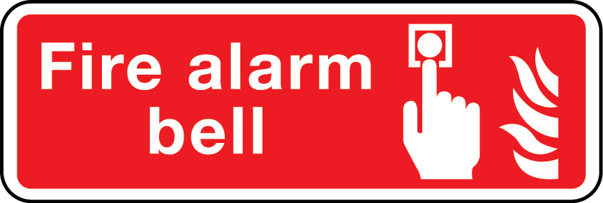 Fire alarm bell landscape layout sign