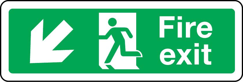 Fire exit arrow down left sign
