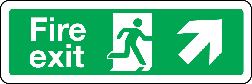 Fire exit sign - up right
