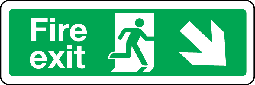 Fire exit sign - down right
