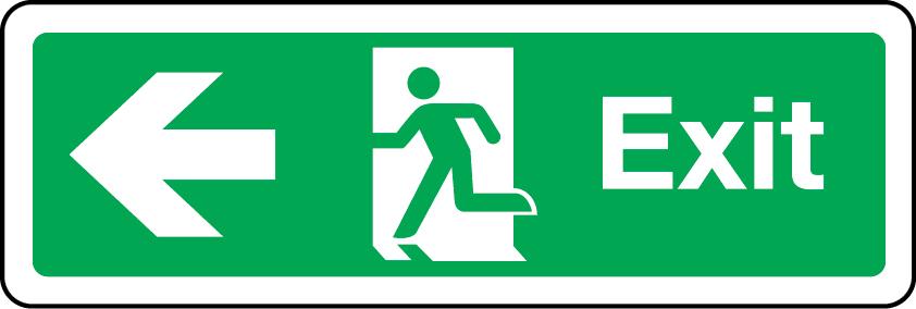 Exit primary arrow left sign