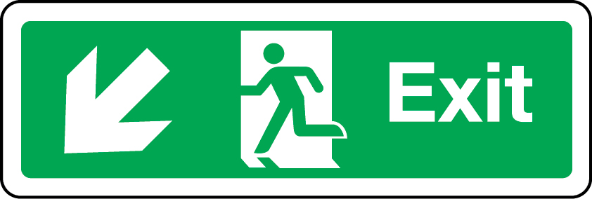Exit primary arrow down left sign