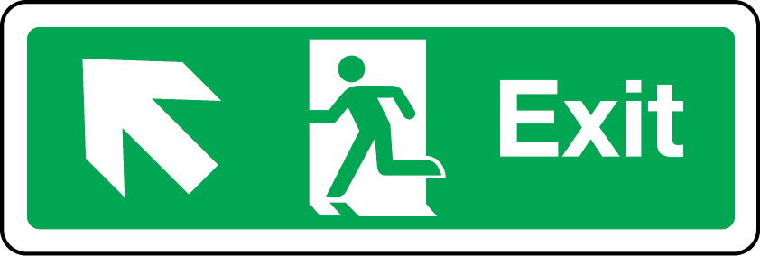 Exit primary arrow up left sign