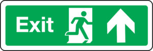 Exit sign with arrow up