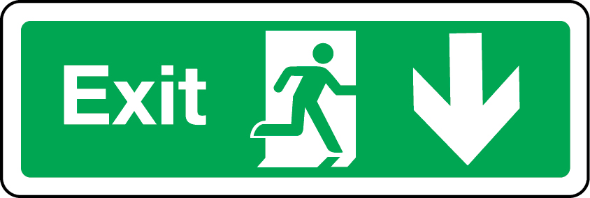 Exit primary arrow down sign