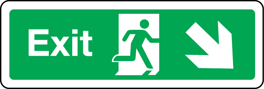 Exit primary arrow down right sign