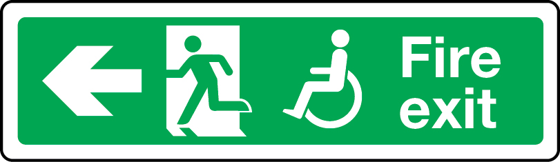 Physically impaired fire escape route arrow left sign