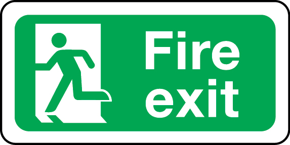 Fire exit sign (left)