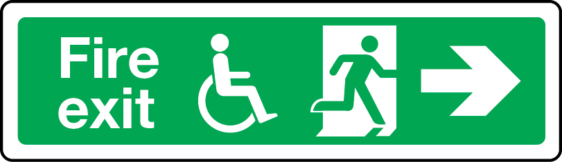 Physically impaired fire escape route arrow right sign