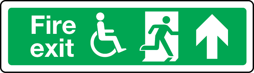 Physically impaired fire escape route arrow up sign