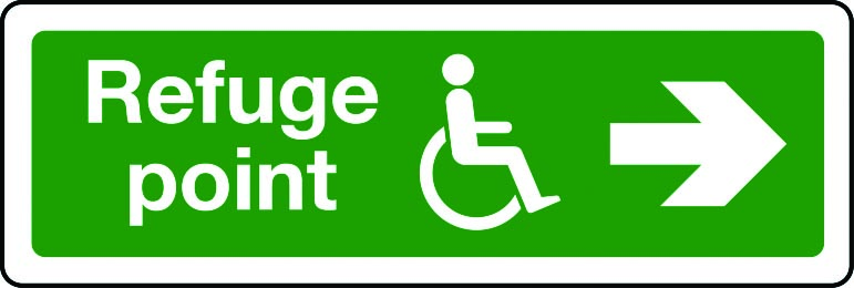 Disabled refuge point route arrow right sign